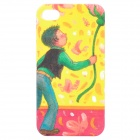 Cartoon Boy Style Protective Frosted Back Case for iPhone 4 / 4S - Yellow + Green + Red