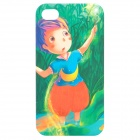 Cartoon Boy Style Protective Frosted Back Case for iPhone 4 / 4S - Green + Red + Blue