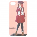 Cartoon Girl Style Protective Frosted Back Case for iPhone 4 / 4S - Dark Red + Pink