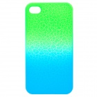 Cool Crack Style Protective Plastic Back Case for Iphone 4 / 4S - Green + Blue