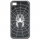 Cool Spider Pattern Protective Back Case for iPhone 4 / 4S - Black + Silver