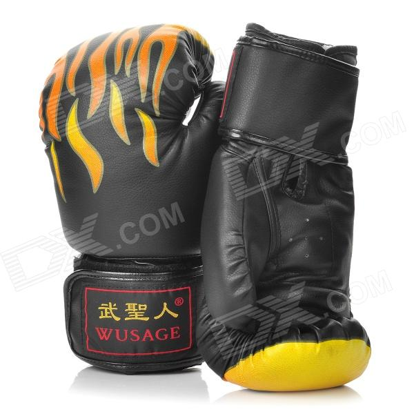 Martial Arts Training Free Combat Boxing Gloves - Black + Yellow + Orange (Pair) pu leather usa boxing gloves with american flag pair