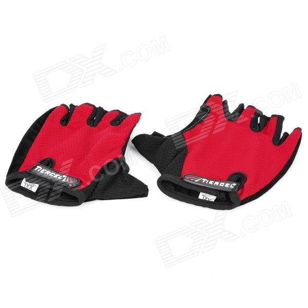 Body Building Sports Cyling Half Finger Gloves - Black + Red (Pair/Size-XXL) body building sports cycling half finger gloves black grey pair size xxl