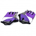 Outdoor Cycling Riding Half Finger Gloves with Protective Pad - Purple + Black (Pair/Size-XL)