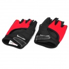 Body Building Sports Cyling Half Finger Gloves for Women - Black + Red