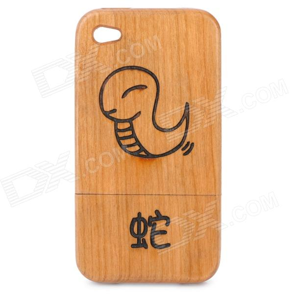 Chinese Zodiac Animal Pattern Protective Wooden Back Case for iPhone 4 / 4S - Snake (Brown)