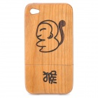 Chinese Zodiac Animal Pattern Protective Wooden Back Case for Iphone 4 / 4S - Monkey (Brown)