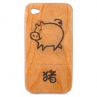 Chinese Zodiac Animal Pattern Protective Wooden Back Case for Iphone 4 / 4S - Pig (Brown)