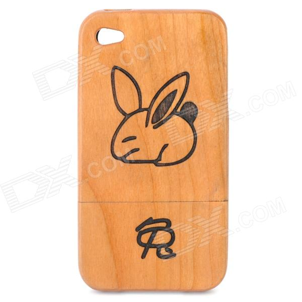 Chinese Zodiac Animal Pattern Protective Wooden Back Case for Iphone 4 / 4S - Rabbit (Brown)