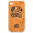 Chinese Zodiac Animal Pattern Protective Wooden Back Case for Iphone 4 / 4S - Dog (Brown)