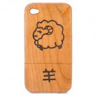 Chinese Zodiac Animal Pattern Protective Wooden Back Case for Iphone 4 / 4S - Sheep (Brown)