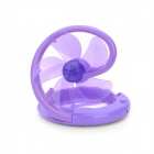 Plastic Folding Fan w/ USB Charging Cable for Computer - Purple (5-Fan-Blade, 92cm)