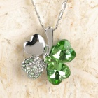 Graceful Crystal and Rhinestone Decorative Four Leaf Clover Pendant Necklace - Green + Silver
