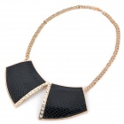 Fashion Shining Rhinestone Collar Necklace - Black + Golden