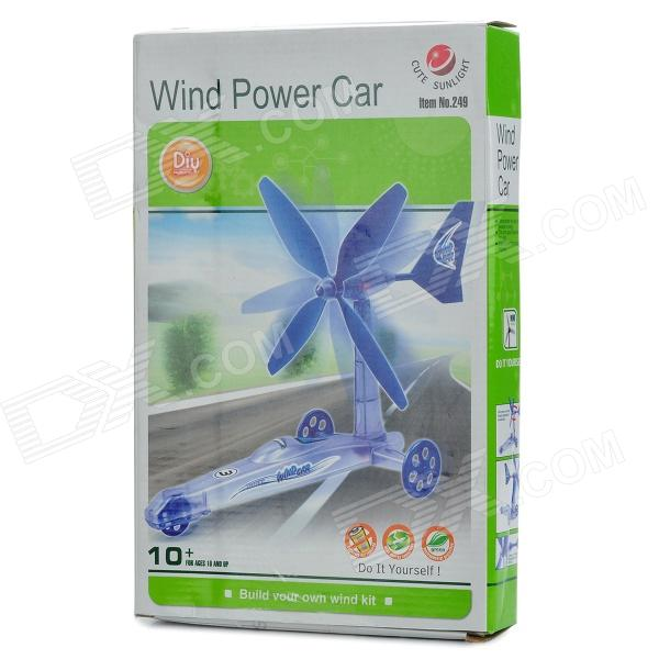 DIY Assembly Windmill Wind Powered Car Toy - Blue n 300s max power 310w vertical axis wind generator turbine 12v 24v small wind power generators