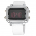 PU Leather Band Square Dial Touch Screen LED Wrist Watch - White (1 x CR2016)