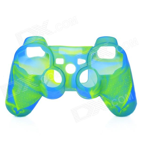 Protective Silicone Cover Case for PS3 Controller - Camouflage Green + Blue protective silicone cover case for xbox 360 controller yellow blue