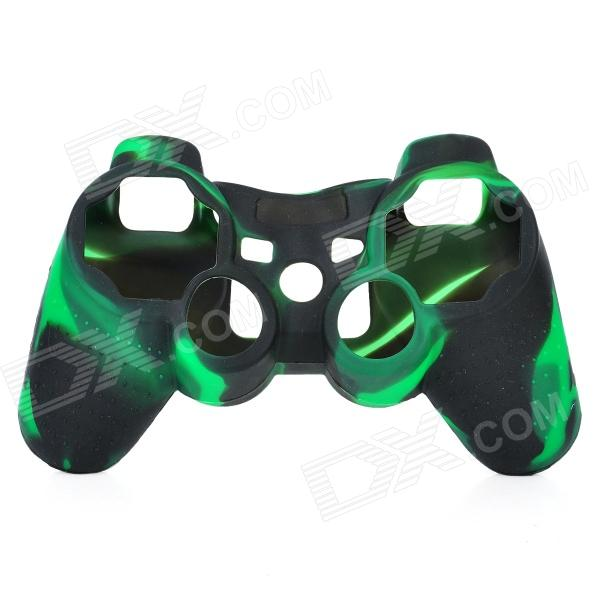 Protective Silicone Cover Case for PS3 Controller - Camouflage Dark Green protective silicone case for xbox one controller camouflage green