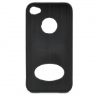 Protective Aluminum Alloy Back Case with Screen Protector for Iphone 4 / 4S - Black