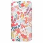 Flowers Pattern Glow-in-the-Dark Protective Frosted Back Case for iPhone 4 / 4S - Red + Green