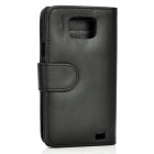 Protective PU Leather Case for Samsung i9100 - Black
