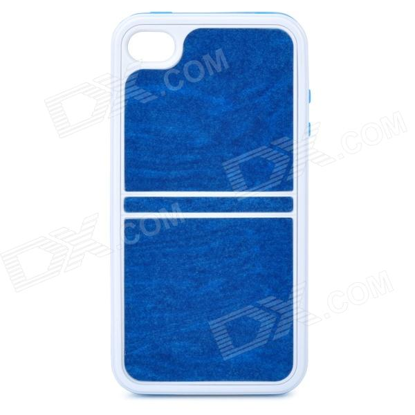 Detachable Protective Plastic Case for iPhone 4 / 4S - Blue + White