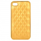 Protective Plastic Back Case with PU Leather Cover for Iphone 4 / 4S - Golden