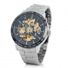 Stainless Steel Self-Winding Mechanical Wristwatch - Black + Golden