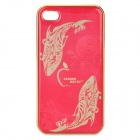 Fish Pattern Protective Aluminum Alloy Back Case for Iphone 4 / 4S - Golden + Red