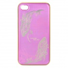 Fish Pattern Protective Aluminum Alloy Back Case for iPhone 4 / 4S - Purple + Golden