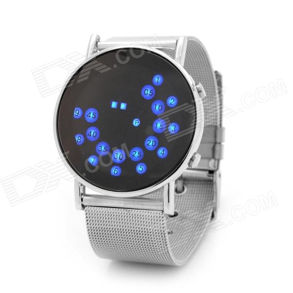 Fashion Blue LED Water Resistant Wrist Watch - Silver (2 x CR2032) fashion stainless steel red yellow led water resistant wrist watch black 2 x cr2016