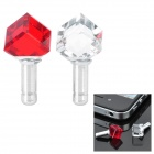 Diamond Rhombus Shaped Anti-Dust Plug for Iphone/Cell Phone - Transparent + Red (3.5mm Jack/2-Piece)