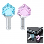 Diamant Rautenform Anti-Staub-Stecker für iPhone / Handy - Blau + Pink (3,5 mm Klinke / 2-teilig)
