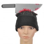 Stylish Funny Knife Cutting Head Style Halloween Costume Hat - Black