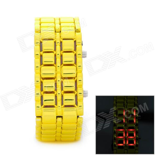 New Concept Lava LED Red Backlight Wrist Watch - Yellow (1 x CR2032)