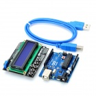 Arduino UNO Microcontroller Development Board w/ LCD Keypad Shield Expansion Board + USB Cable