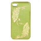 Fish Image Pattern Protective Aluminum Alloy Back Case for iPhone 4 / 4S - Golden + Green