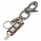 Stylish Decoration Punk Keychain w/ Wrench - Brown + Silver