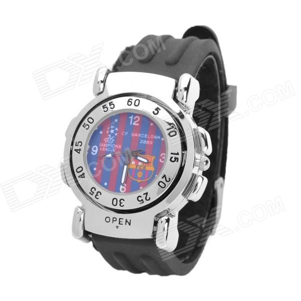 Barcelona FC Logo Pattern Double-side Flip Quartz Analog Wrist Watch - Red + Blue (1 x SR626)
