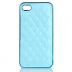 Skin Checked Pattern Genuine Leather Protective PC Back Case for iPhone 4 / 4S - Blue