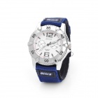 Sports Nylon Band Rotational Dial Quartz Wrist Watch - Silver + Blue (1 x SR626SW)