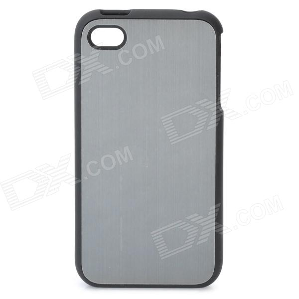 Protective Aluminum Alloy + Plastic Back Case for Iphone 4 / 4S - Black + Dark Silver