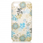 Glow-in-the-Dark Flowers Pattern Protective PC Back Case for iPhone 4 / 4S - Blue + Light Grey