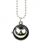 Stylish Skull Face Pattern Necklace Watch - Black + Silver