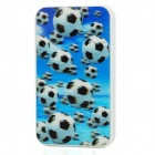 3D Football Patten 3000mAh Mobile Power Battery Charger w/ Adapter - White + Blue