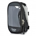 Outdoor Bike Bicycle Upper Tube Bag with Transparent Pouch for Touch Mobile Phone - Black