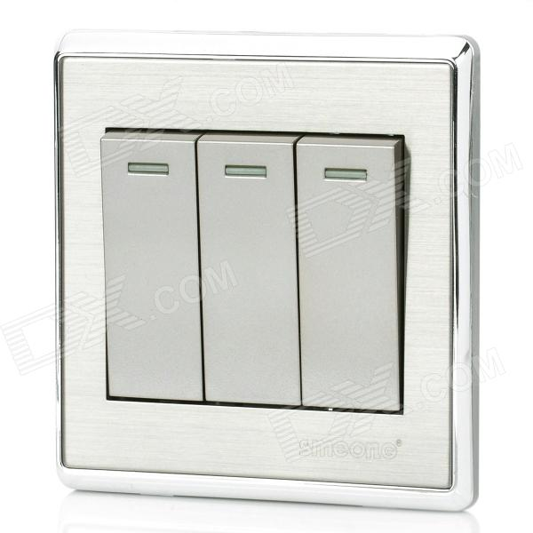 SMEONG Stainless Steel Wiredrawing Three Gang Power Control Wall Switch - Silver + Grey от DX.com INT