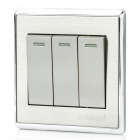 SMEONG Stainless Steel Wiredrawing Three Gang Power Control Wall Switch - Silver + Grey