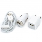 Car Charging Adapter + EU Plug AC Charger + USB Cable for iPhone 4 / 4S - White (3-Piece Set)