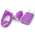 Car Charger Charging Adapter + EU Plug AC Charger + USB Cable for iPhone 4 / 4S - Purple